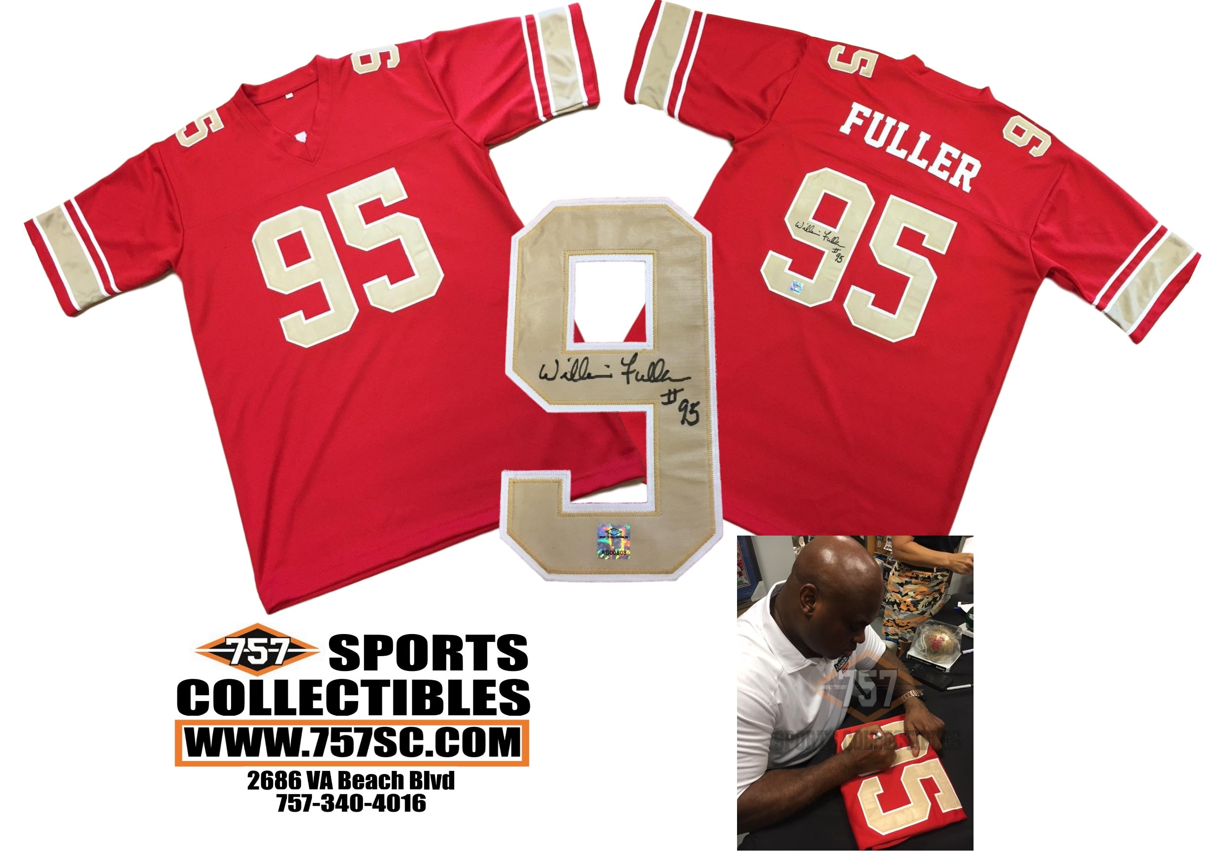 0bad357a0f2 Philadelphia Baltimore Stars William Fuller Signed Autographed Red Custom  Jersey (JSA PSA Pass) 757