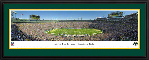 "Green Bay Packers Panoramic Photo 17""x44"" Sideline Deluxe Framed Lambeau Field Picture"