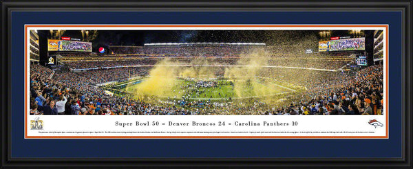 "2016 Super Bowl Panoramic Picture Denver Broncos 17"" x 44"" Deluxe Framed Super Bowl 50 Panorama Photo"