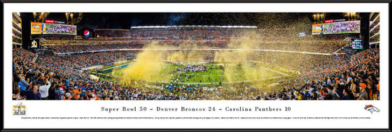 "2016 Super Bowl Panoramic Picture Denver Broncos 14"" x 40"" Standard Framed Super Bowl 50 Panorama Photo"