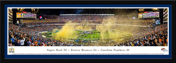 "2016 Super Bowl Panoramic Picture Denver Broncos 17"" x 44"" Select Framed Super Bowl 50 Panorama Photo"