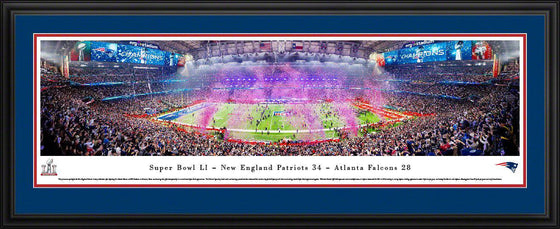 "2017 New England Patriots Super Bowl Panoramic Picture 13.5"" x 40"" Deluxe Framed Super Bowl 51 LI Panorama Photo"