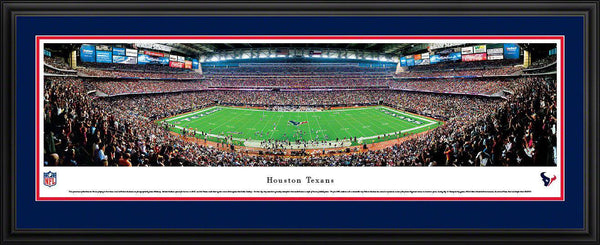 "Houston Texans Panoramic Photo 17""x44"" Deluxe Framed Reliant Stadium Picture 50 Yard Line"