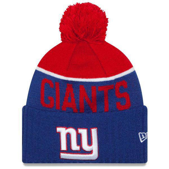 NFL New York Giants New Era Royal 2015 On-Field Sport Knit Hat with Pom