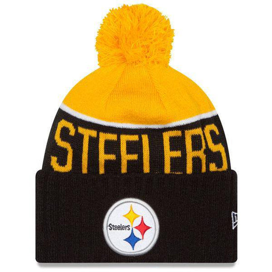 NFL Pittsburgh Steelers New Era Black 2015 On-Field Sport Knit Hat with Pom - 757 Sports Collectibles