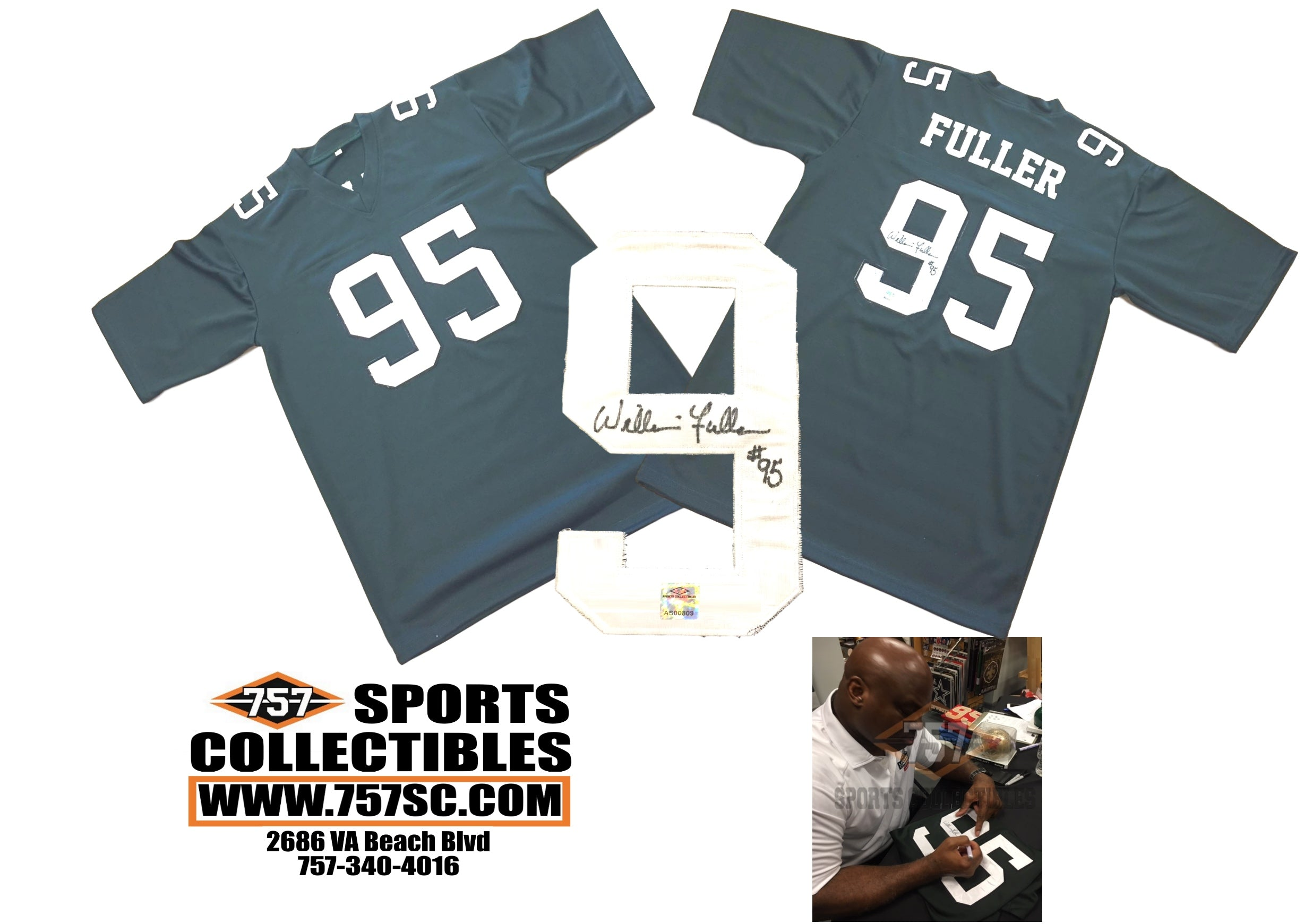 1d7a8fcd35d Philadelphia Eagles William Fuller Signed Autographed Green Custom Jersey  (JSA PSA Pass) 757