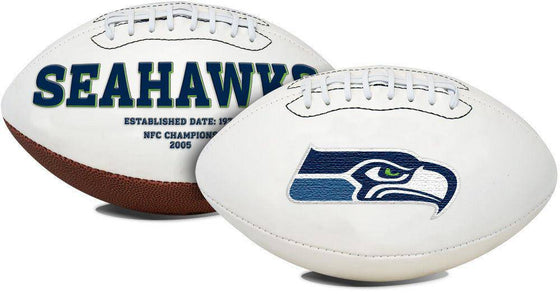 Seattle Seahawks Embroidered Logo White Signature Series Football
