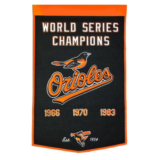 "Baltimore Orioles Dynasty Banner 24""x36"" Wool Embroidered"