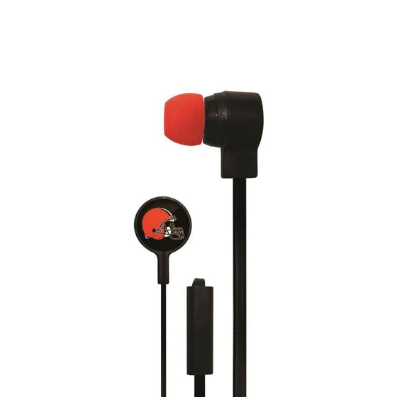 Cleveland Browns Big Logo Earbud Headphones with Microphone - 757 Sports Collectibles