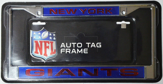 NFL New York Giants Laser-Cut Chrome License Plate Frame - 757 Sports Collectibles