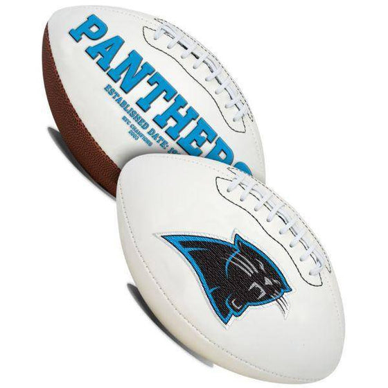 Carolina Panthers Embroidered Logo White Signature Series Football
