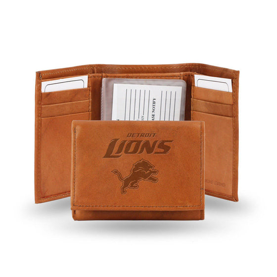 NFL Detroit Lions Embossed Genuine Cowhide Leather Trifold Leather wallet w/ gift tin