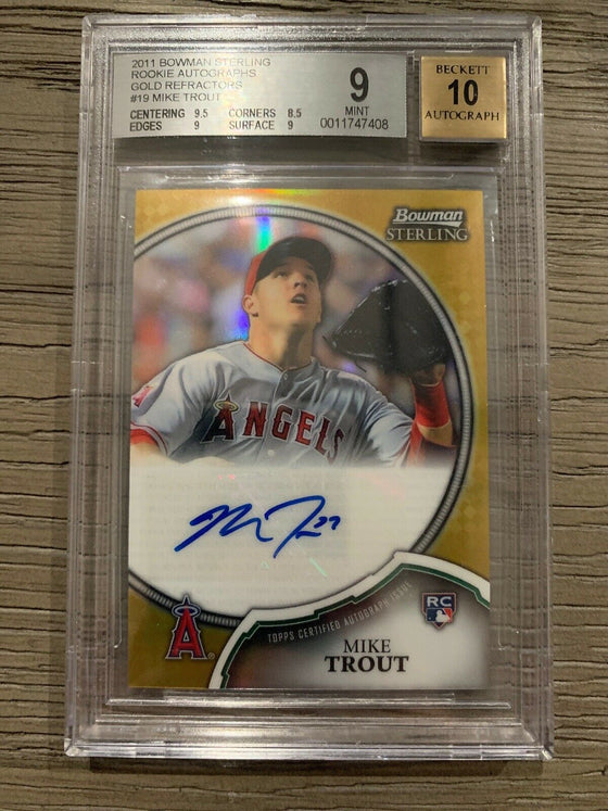 #49/50 2011 Bowman Sterling GOLD Refractor Mike Trout Rookie RC AUTO BGS 9/10