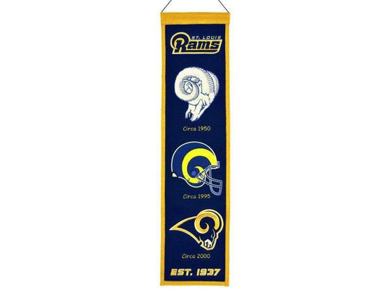 "St. Louis Rams Heritage Banner 8""x32"" Wool Embroidered"