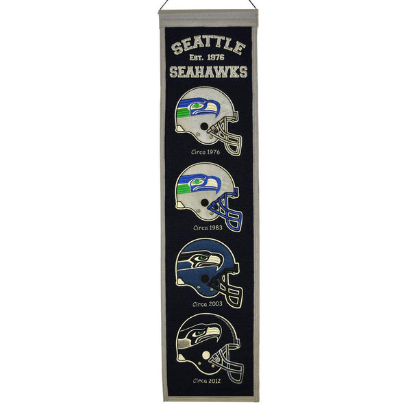 "Seattle Seahawks Heritage Banner 8""x32"" Wool Embroidered"