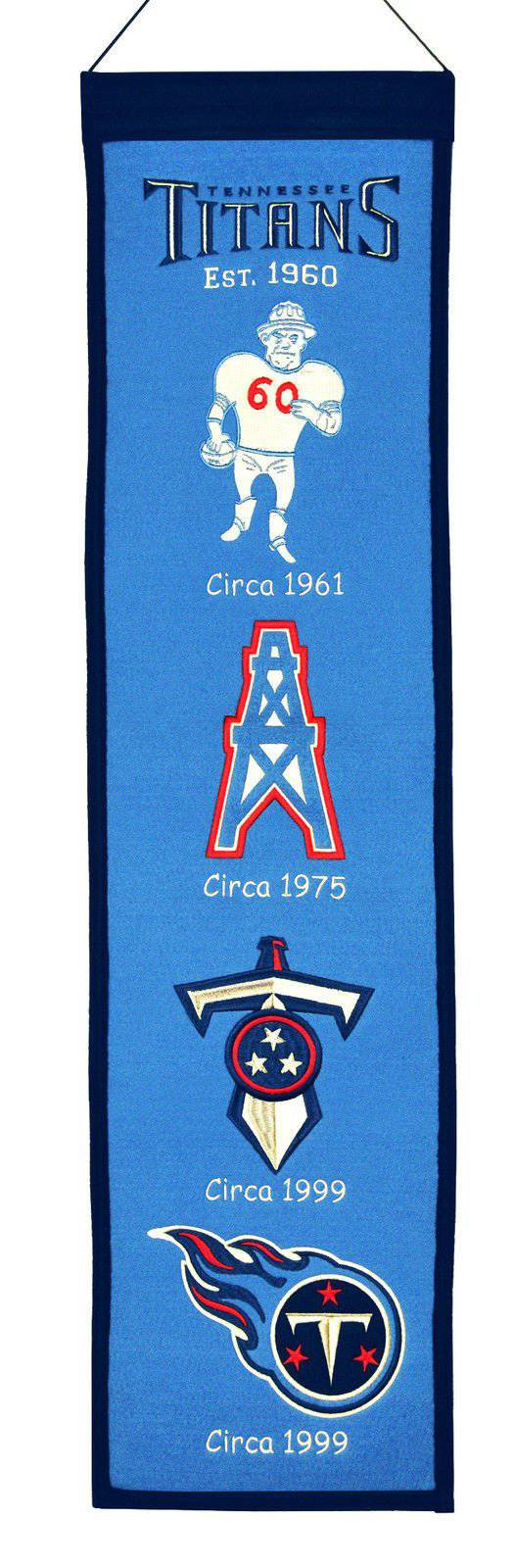 "Tennessee Titans Heritage Banner 8""x32"" Wool Embroidered"