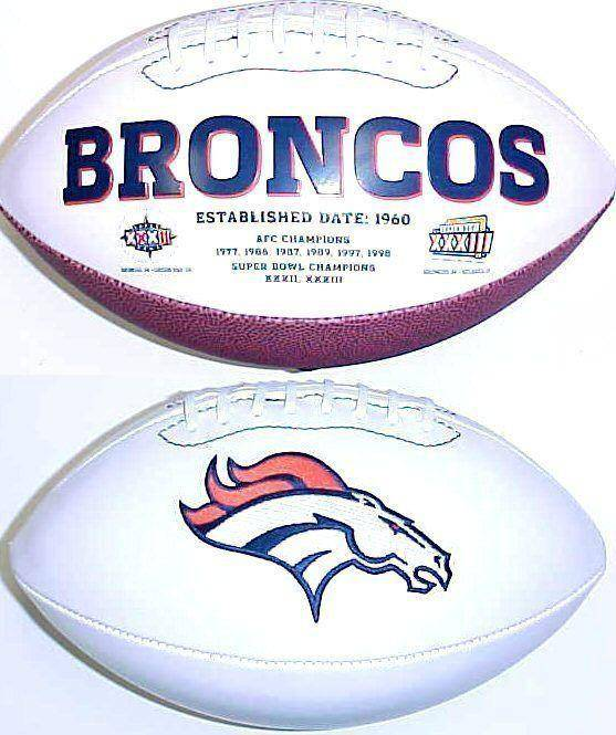 Denver Broncos Embroidered Logo White Signature Series Football