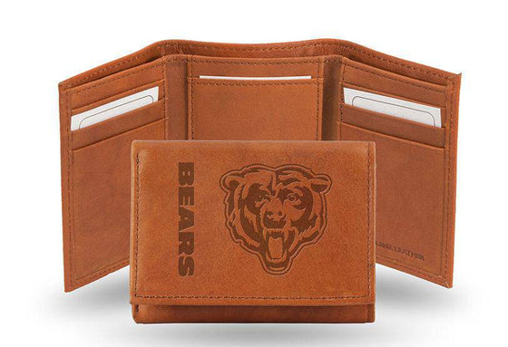 NFL Chicago Bears Embossed Genuine Cowhide Leather Trifold Leather wallet w/ gift tin - 757 Sports Collectibles
