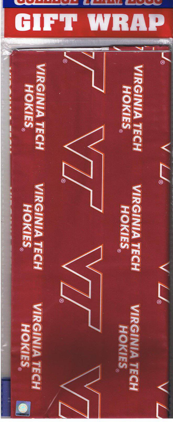 Virginia Tech Hokies Team Logo Wrapping Paper Gift Wrap 12.5 sq ft - 757 Sports Collectibles