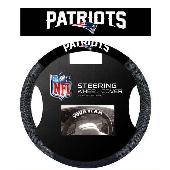 NFL New England Patriots Poly-Suede Universal Steering Wheel Cover