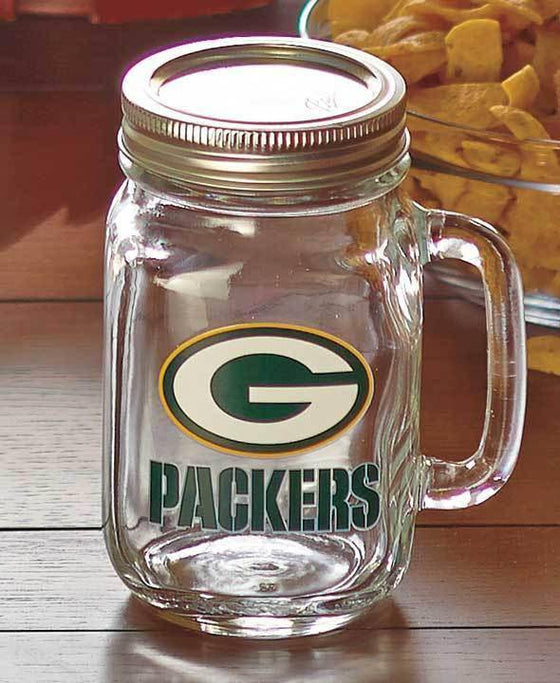 NFL Green Bay Packers 16 oz Glass Mason Jar - 757 Sports Collectibles