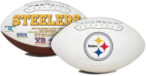 Pittsburgh Steelers Embroidered Logo White Signature Series Football
