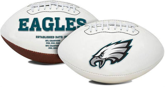 Philadelphia Eagles Embroidered Logo White Signature Series Football