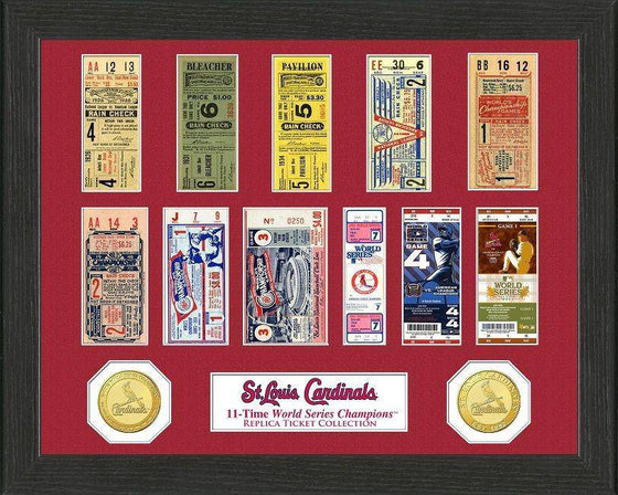 MLB St. Louis Cardinals 11-Time World Series Champions Framed Tickets and Coins