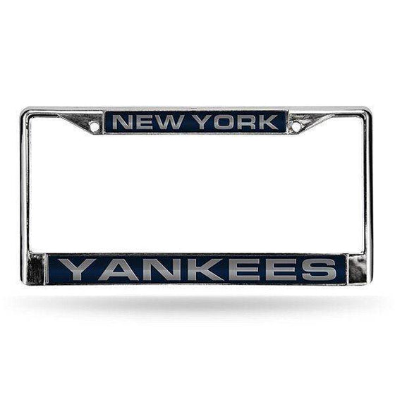MLB New York Yankees Laser-Cut Chrome License Plate Frame