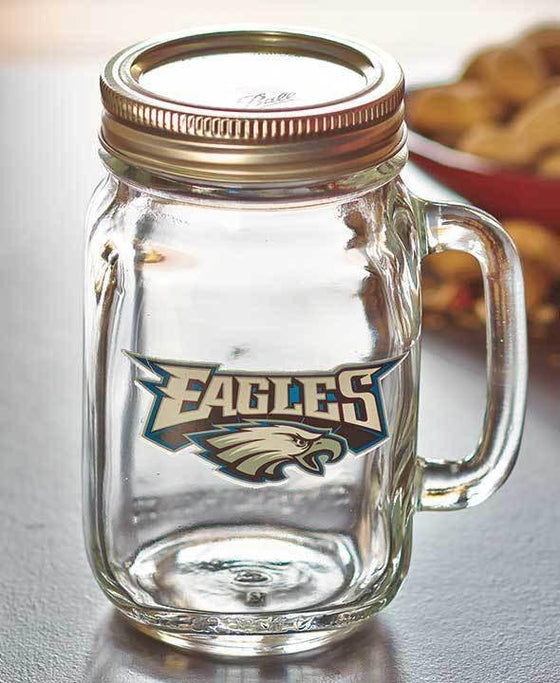 NFL Philadelphia Eagles 16 oz Glass Mason Jar - 757 Sports Collectibles