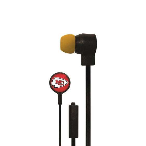 Kansas City Chiefs Big Logo Earbud Headphones with Microphone