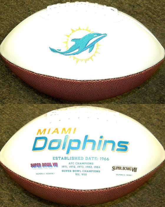 Miami Dolphins Embroidered Logo White Signature Series Football