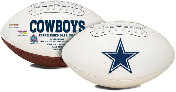 Dallas Cowboys Embroidered Logo White Signature Series Football