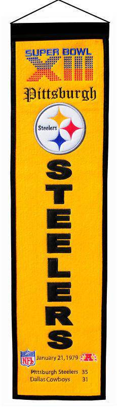 "Pittsburgh Steelers Heritage Banner Super Bowl XIII 13 Embroidered Wool 8""x32"""