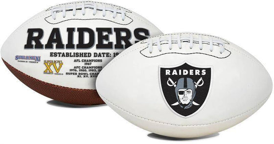 Oakland Raiders Embroidered Logo White Signature Series Football