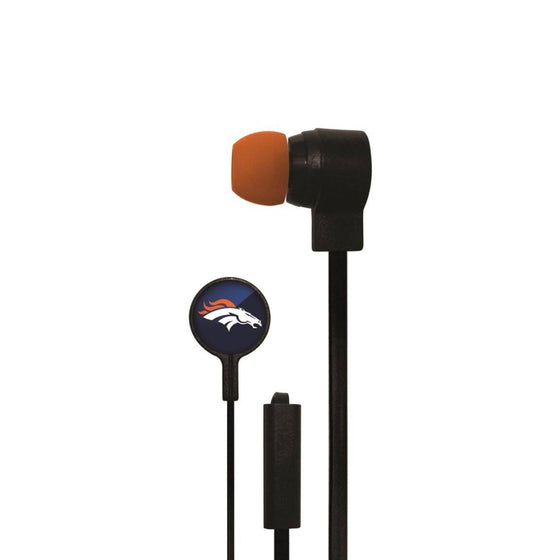 Denver Broncos Big Logo Earbud Headphones with Microphone