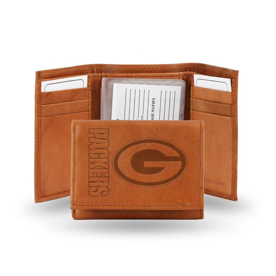 NFL Green Bay Packers Embossed Genuine Cowhide Leather Trifold Leather wallet w/ gift tin