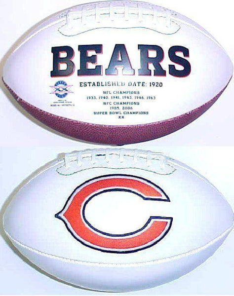 Chicago Bears Embroidered Logo White Signature Series Football