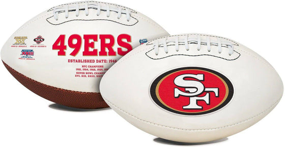 San Francisco 49ers Embroidered Logo White Signature Series Football