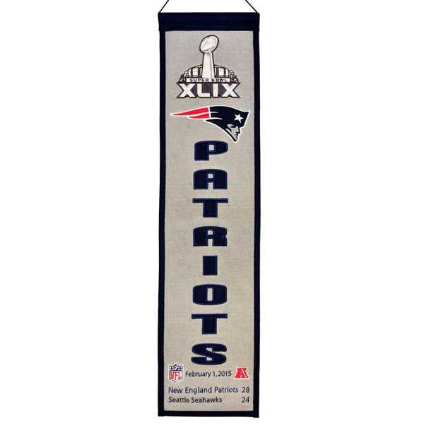 "New England Patriots Heritage Banner Super Bowl XLIX 49 Embroidered Wool 8""x32"""