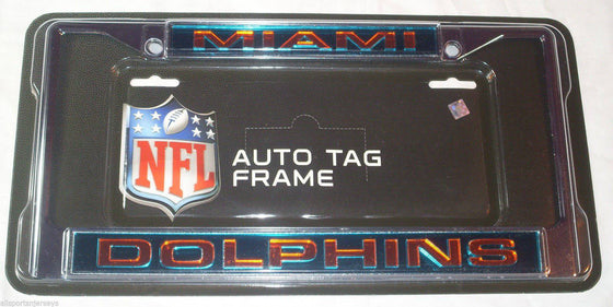 NFL Miami Dolphins Laser-Cut Chrome License Plate Frame