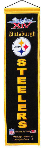 "Pittsburgh Steelers Heritage Banner Super Bowl XIV 14 Embroidered Wool 8""x32"""
