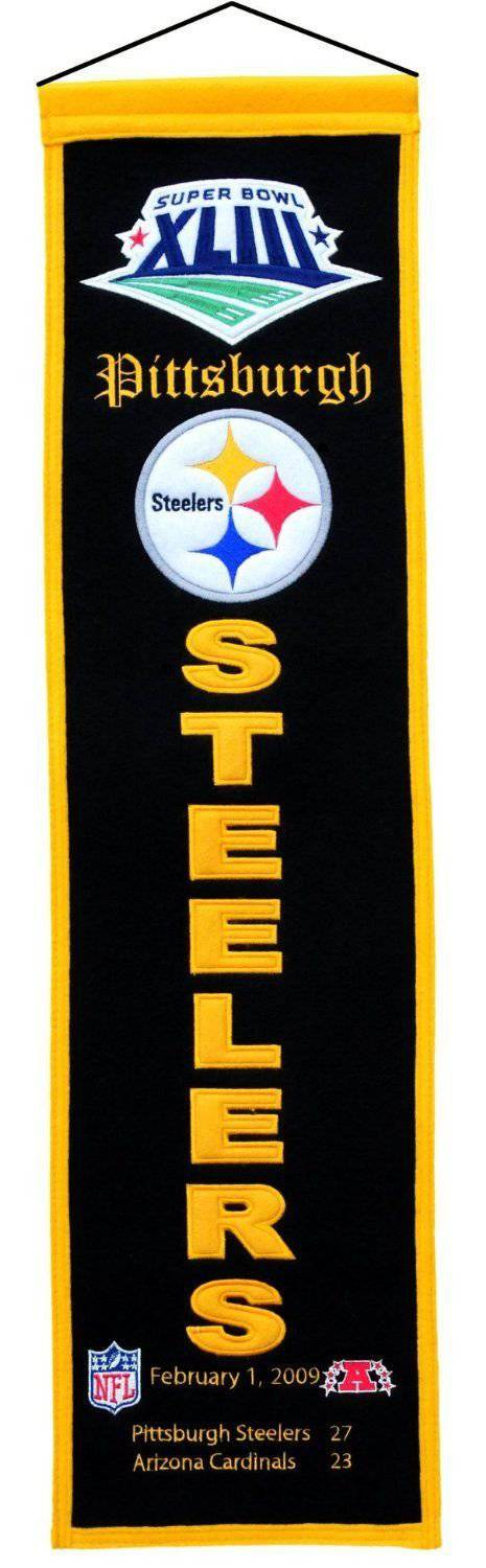 "Pittsburgh Steelers Heritage Banner Super Bowl XLIII 43 Embroidered Wool 8""x32"""