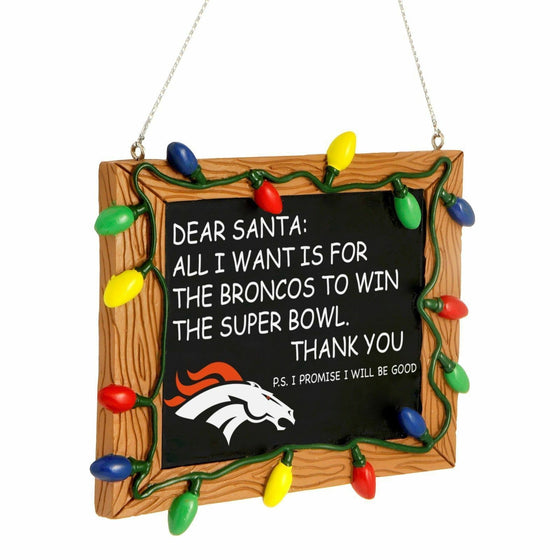 Forever Collectibles - NFL - Chalkboard Sign Christmas Ornament - Pick Your Team (Denver Broncos)