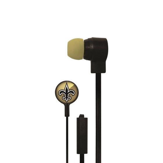 New Orleans Saints Big Logo Earbud Headphones with Microphone
