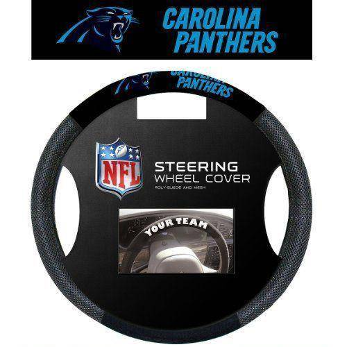 NFL Carolina Panthers Poly-Suede Universal Steering Wheel Cover - 757 Sports Collectibles
