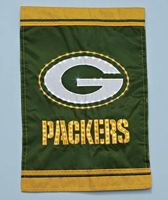 "Green Bay Packers Fiber Optic Light Up Embroidered 18""x12.5"" Garden Flag"