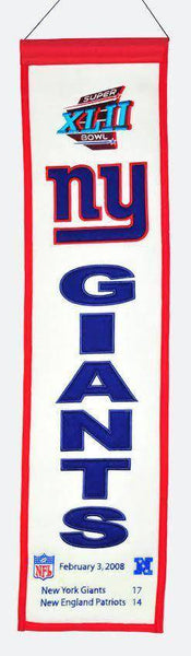 "New York Giants Heritage Banner Super Bowl XLII 42 Embroidered Wool 8""x32"""