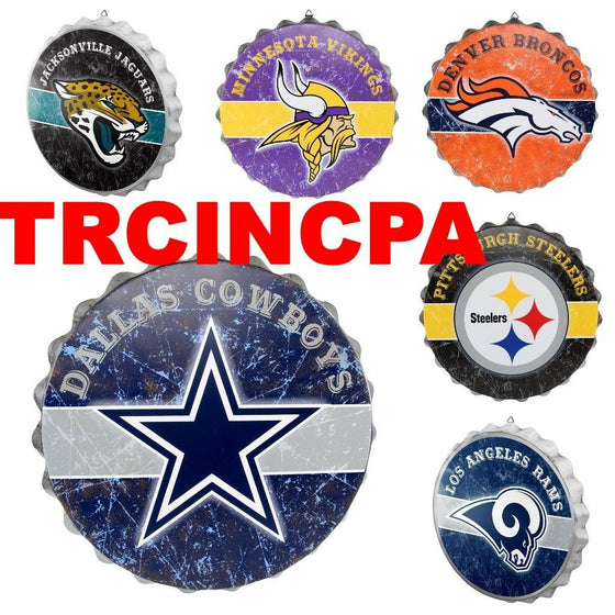 NFL Metal Distressed Bottle Cap Wall Sign-Pick Your Team- Free Shipping