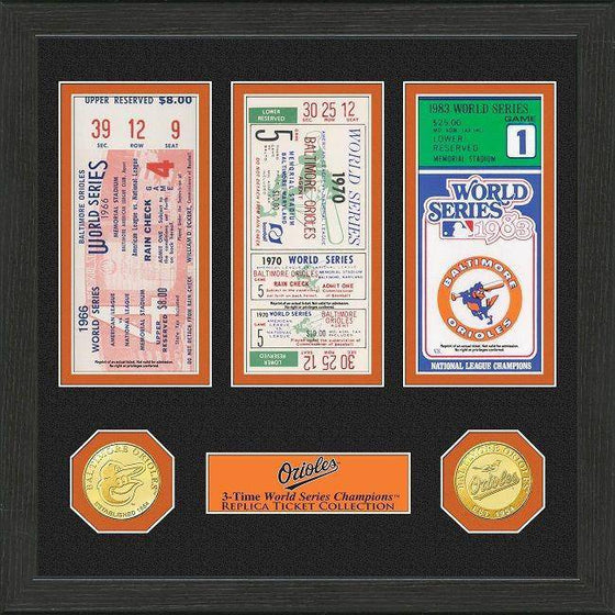 MLB Baltimore Orioles 3-Time World Series Champions Framed Tickets and Coins